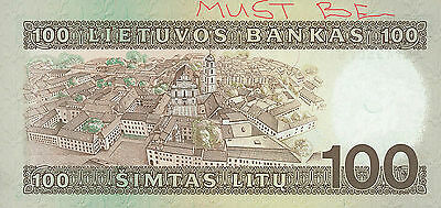 Lithuania paper note 100 Litu 1991 PRINT ERROR,no some print on back Litauen
