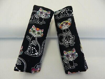 Padded Baby Car Seat Belt Strap Covers Highchair Stroller Pram Sugar Skull Cats
