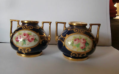 Pair of late 19th /early 20th Century Mintons Cobalt blue & Gilt Squat Vases