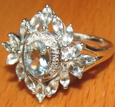 STUNNING SECONDHAND QVC 9ct WHITE GOLD TOPAZ & DIAMOND CLUSTER RING SIZE T