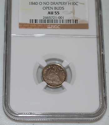 1840-O H10C Seated Liberty Silver Half Dime - Only 695 Minted - 2 Varieties RARE