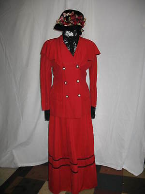 Red Dress Victorian Edwardian Style Hat Costume