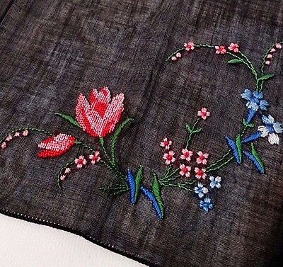 Vintage Antique Handmade Handkerchief Embroidered Flowers Black Linen Mourning