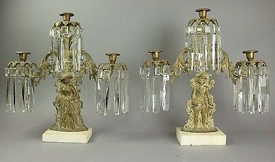Antique Pair Of Victorian Gilt Bronze And Crystal Figural Girandoles
