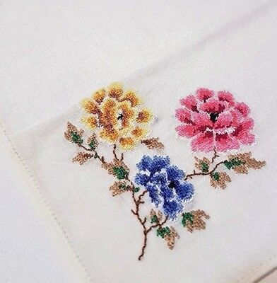 Vintage Antique VERY FINE Handmade Handkerchief Embroidered Flowers