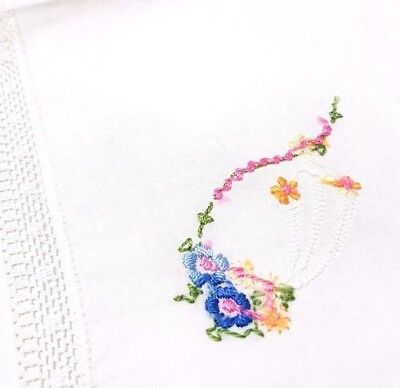 Vintage Antique Handkerchief Embroidered Flowers White Linen