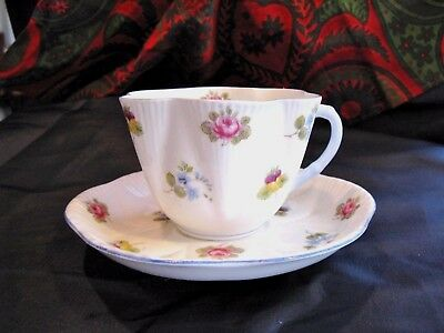 Shelley Dainty Rose Pansy Forget Me Not Teacup Saucer Vintage PRECIOUS