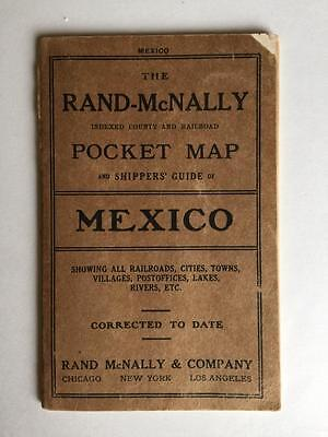 Vintage 1911 Rand McNally Mexico Pocket Map Shippers Guide Railways Cities
