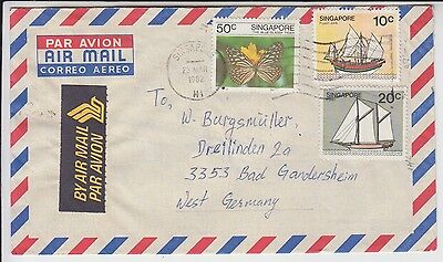 Ships Butterflies on Singapore cover 1982 to Germany