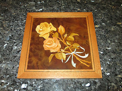Rose Flower - Wood Inlay Marquetry Wallhanging 10 X 10