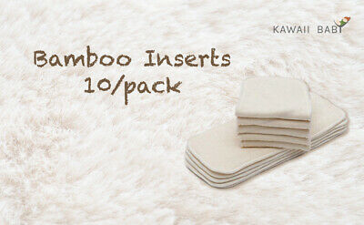 10/Pack KaWaii Baby Cloth Diaper Inserts/Liners (Bamboo, Charcoal, Microfiber)
