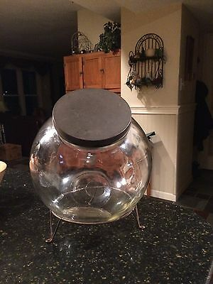 Vintage Large Glass Round Tilt Canister Candy Countertop Store Jar W/base