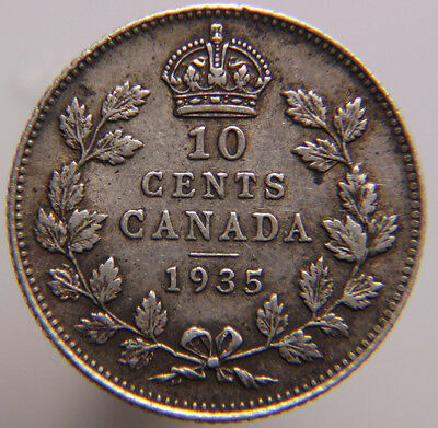 Canada 10 Cents KM# 23a 1935 Silver Dime Canada Nice Detail King George V Coin