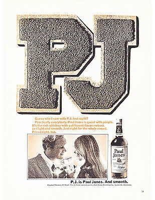 Original Print Ad-1968 P.J. is Paul Jones and Smooth-Varsity letters-Whiskey