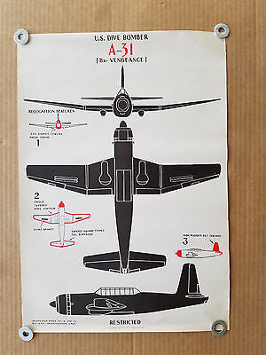 Vintage Wwii Aircraft Id Recognition Poster - A-31  Vengeance   U.s. Dive Bomber