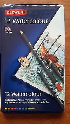 Derwent Watercolour 12 Coloured Pencils In Tin Set