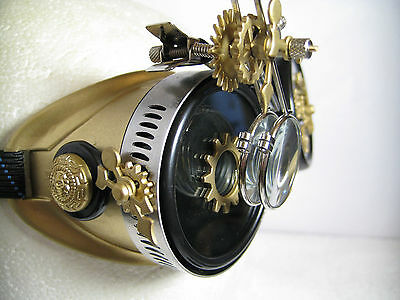 Pro Steampunk Safety Goggles Brass Metal Gears Clockwork Lab Top Hat Glasses 5X2