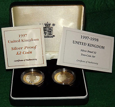 Royal Mint 1997 1998 Silver Proof 925 Two Pound 2 Coin Set with Certificate ~BU~