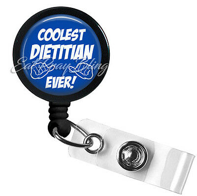 Retractable Badge Reel Name Tag ID Pull Clip Holder Lanyard Dietitian RD gift