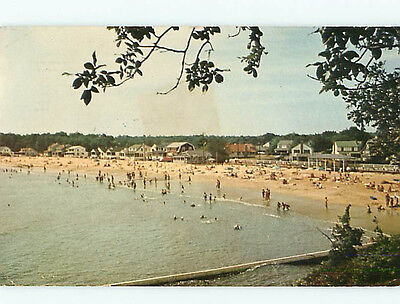 Vintage Post Card Aerial Point o Woods Beach Swimming South Lyme CT   # 4695