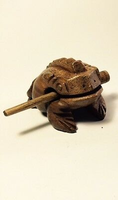 """Wooden 3"""" hand carved Frog wooden percussion croaking sound w/scraper Lt. Brown"""