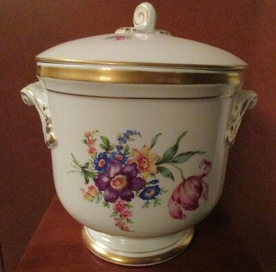 Vintage Vista Alegre Portugal Lidded Thermos Ice Bucket Hand Painted Floral