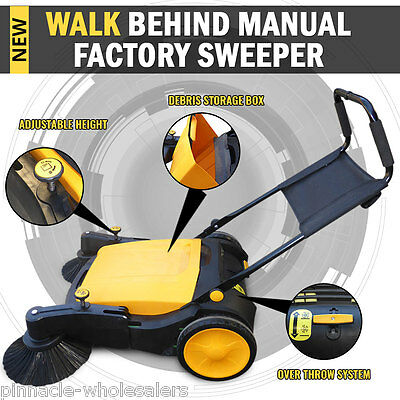 NEW Industrial Manual Walk Behind Floor Factory Sweeper 40L Capacity Storage