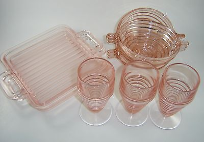 Depression Glass Pink Manhattan Mixed Lot of 8 Footed Tumbler Bowl Tray Art Deco