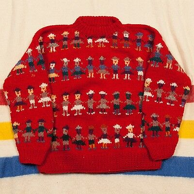 Vintage 70s/80s Red World Peace COWICHAN Sweater Size L/XL 100% Wool Hand Knit