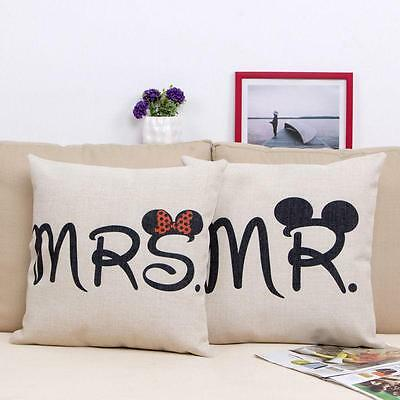 Love Couple Mr/Mrs Pillow Case Cotton Linen Home Sofa Decor Cushion Cover G