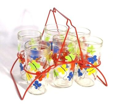 Vintage Butterfly Glass Tumblers Barware w/ Red Metal Rack Red Yellow Blue Green