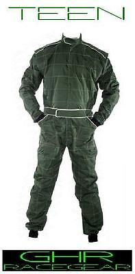 New Go Kart Teen Race Suit Green Any Size S / M / L GHR Racer Motor Sport Racing