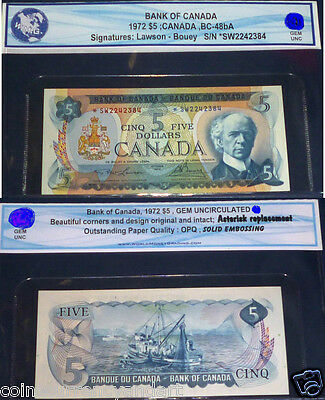 1986 Bank of Canada $5  *SN Prefix ,BC-48bA . ASTERISK REPLACEMENT- UNCIRCULATED