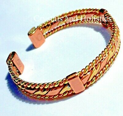MAGNETIC Solid Pure Copper WOVEN COPPER Bracelet Bangle Relief Arthritis - M5