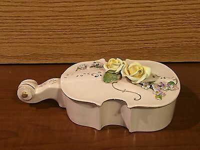 N.S. GUSTIN CO CALIFORNIA Cello Violin Bass Yellow Violet Flowers 1950 gold trim