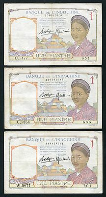 French Indo-China 1 Piastre banknote , Lot of 3 note