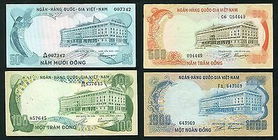 South Vietnam banknote 50 -1000 Dong Set of 4 P.30 - 34