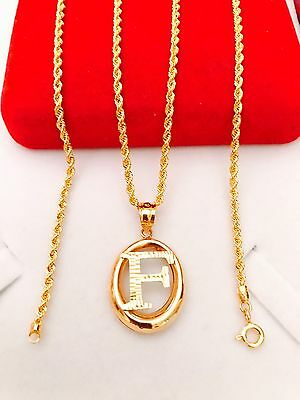 "18K Gold Necklace F Pendant Initial With 20"" Long Chain"