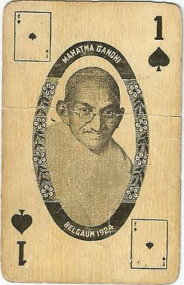 1940s INDIA PATRIOTIC PLAYING CARD-MAHATMA GANDHI-FREEDOM FIGHTER-VERY RARE CARD
