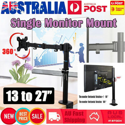 Single Lcd Led Vesa Monitor Desk Stand Mount Clamp Arm Adjustable Screens 15-27""