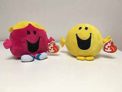 TY Mr Happy Little Miss Chatterbox Beanie Mr Men Little Miss Tags Collectable!