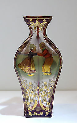 Moser Red & Clear Glass Vase Enamel Plaques of Children Gilt Flowers 20th Cntry