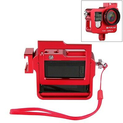 Red Housing Shell Aluminum Alloy Protective Case+Insurance Frame for GoPro HERO4