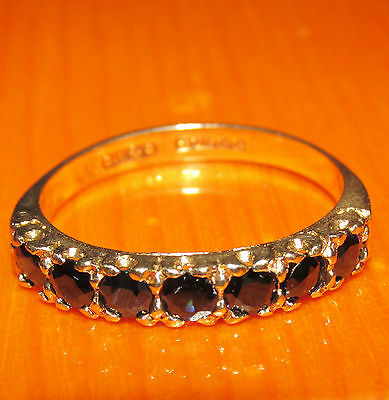 STUNNING SECONDHAND 9ct YELLOW  GOLD SAPPHIRE  BAND RING SIZE Q1/2