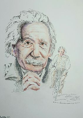 Original Coloured Pencil/Ink Drawing by Ray Statter - Albert Einstein Montage