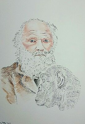 Original Coloured Pencil/Ink Drawing by Ray Statter - Charles Darwin Montage