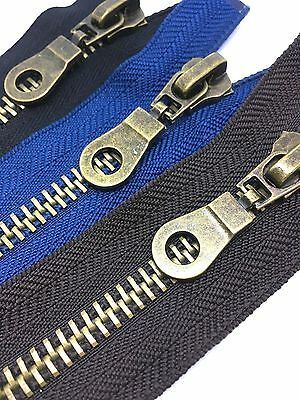No8 HEAVY DUTY Antique Brass Metal Zips - Open end Zip - Black, Brown & Navy