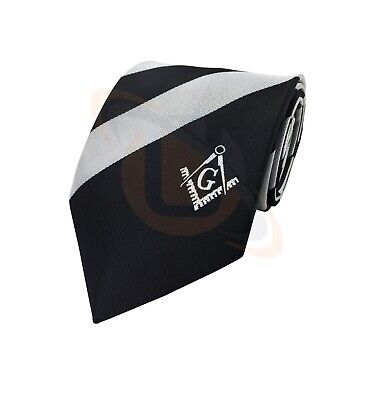 New Design Masonic Masons black and white tie with Square Compass & G
