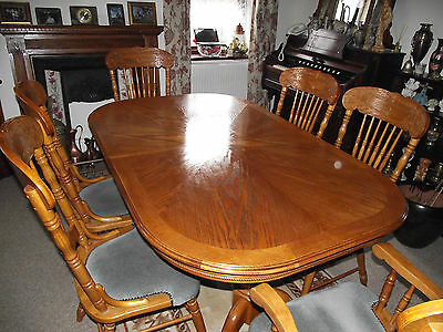 Antique Style Huge Oak Farmhouse Dining Table with Six Chairs