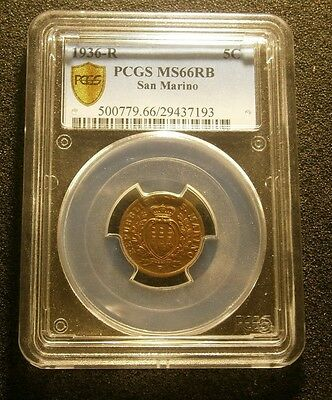 1936  R Five (5) Centesimi, San Marino, Pcgs Ms66 Rb Beautiful Coin